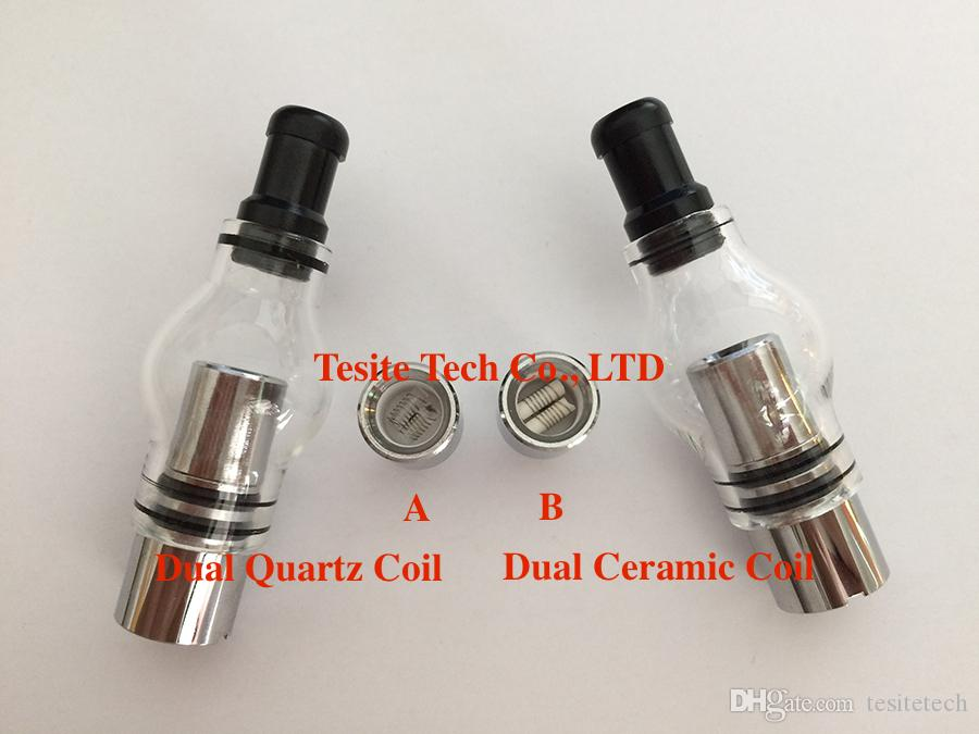 DHL Free Glass Globe Atomizer pyrex glass tank with Dual Quartz Coil Dual Ceramic Coil Wax Herb Vaporizer for 510 eGo Battery