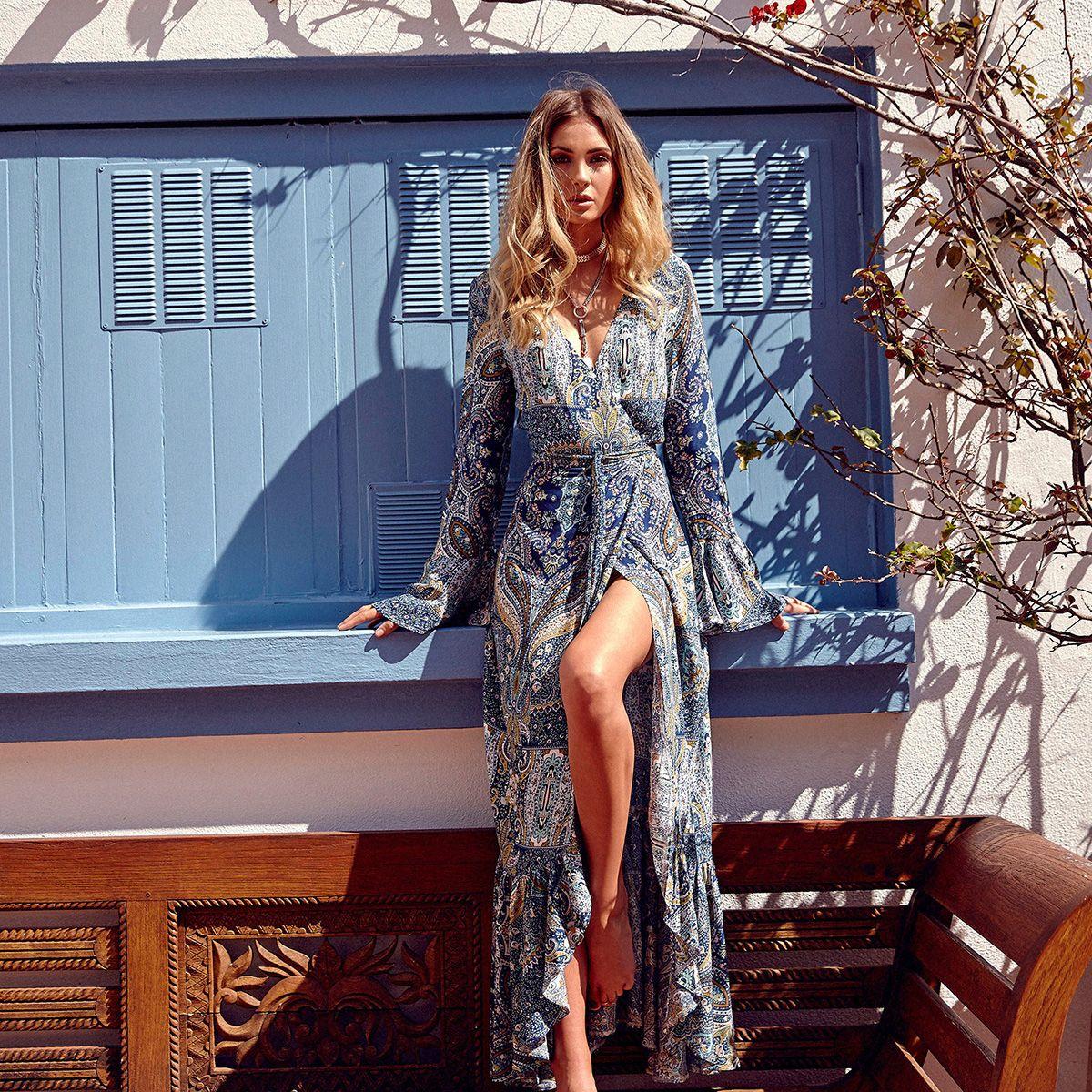 Jessie Vinson Bohemian Style Boho Print Split Maxi Dress V Neck Long