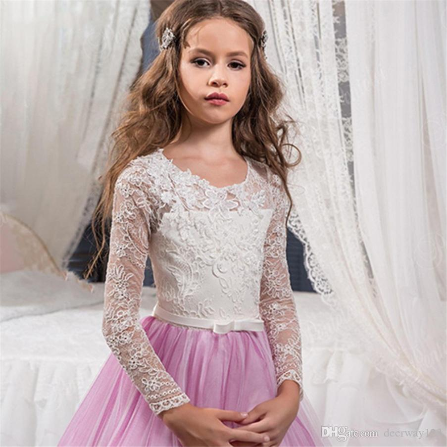 Kommunion Kleider Weiß und Lila Lange Ärmel Charming Lace Appliques Prinzessin Kommunion Kleider Pageant Ballkleider Für Mädchen