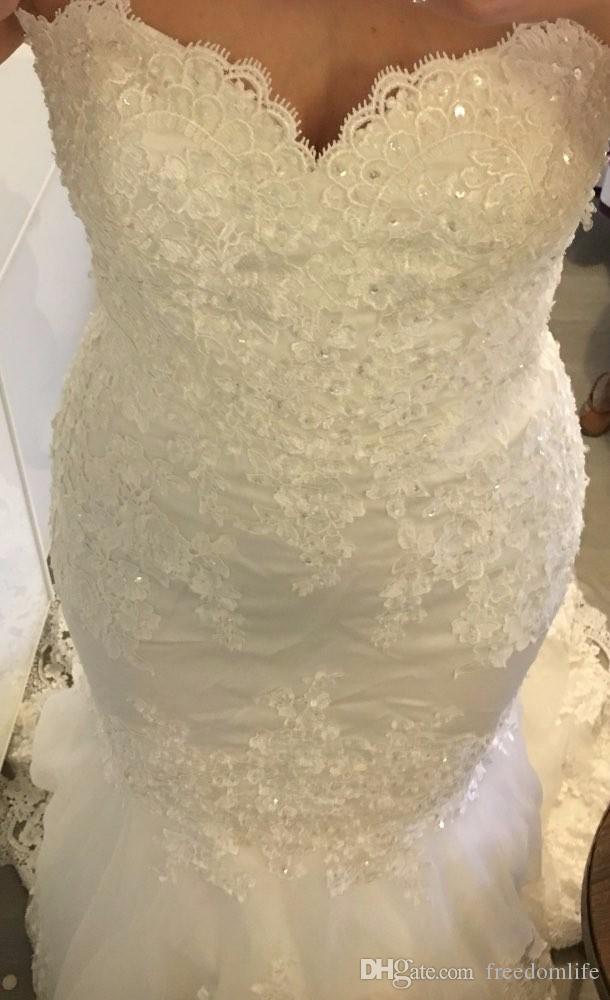 Свадебные платья невесты Vestidos de Noiva 2017 Новые сексуальные кружевные блестки Tulle astreteart Русалка свадебные платья дешево