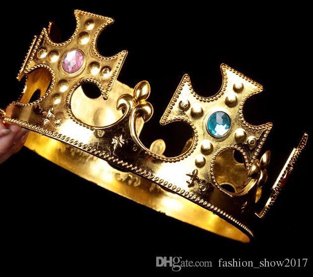 Party Cosplay Corona Rey Reina Princesa real diamante corona niños adultos corona sombrero de copa sombrero