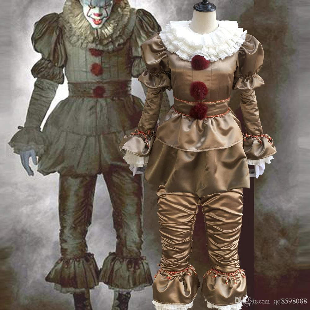 Hot Movie Stephen King's It Pennywise Costume mascot Scary Joker Suit Custom Made Fancy Halloween Masquerade Party Prop