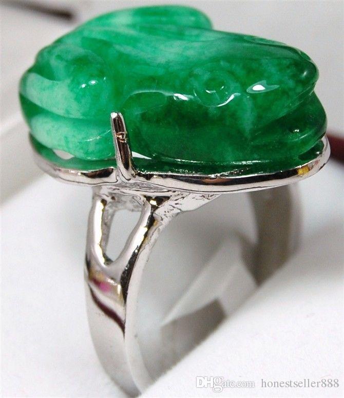 i! facny intagliato verde / viola intaglia la giada rana benedica l'anello d'amore # 7,8,9