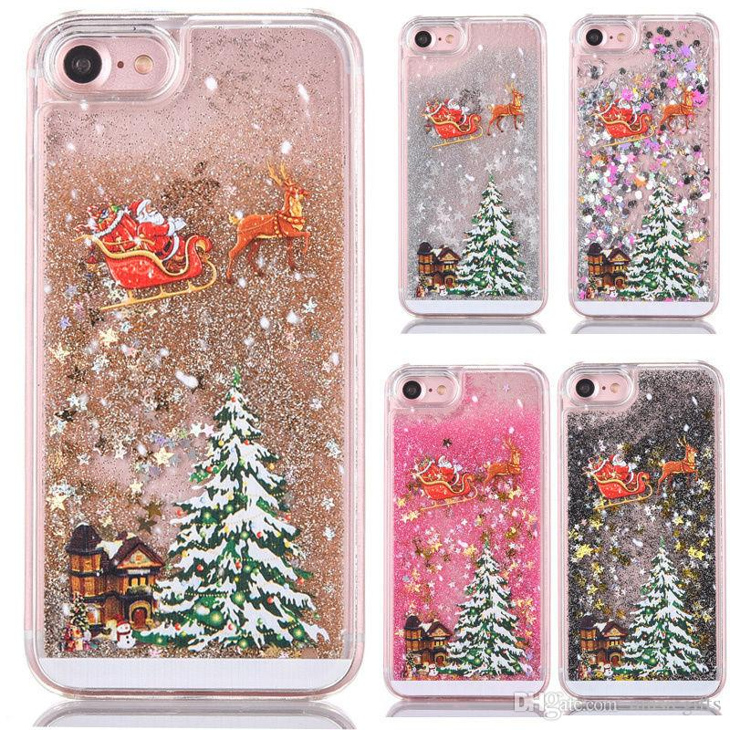 Samsung S6 / S7 Чехол Рождественская Елка Санта-Клаус Телефон Случае Блеск Черный Зыбучие Пески