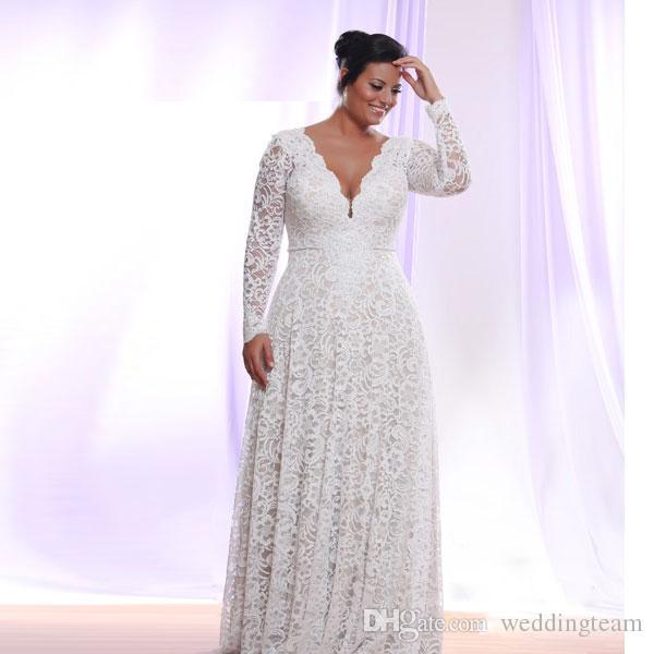 Robes de mariée Superbe dentelle grande taille avec des manches longues robe col V profond A-ligne bohème de mariage longueur de plancher de la plage Robes de mariée