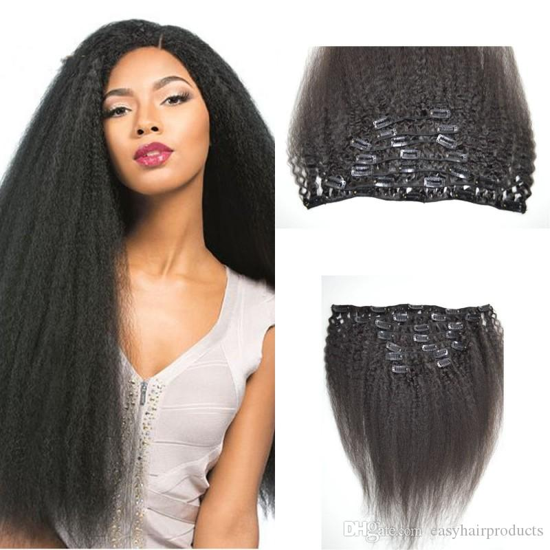 Kinky Straight Clip Indian Human Hair Extension Natural Color