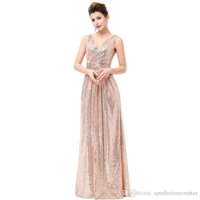 2020 Moda Şampanya Altın Pullu Prom Abiye Basit ve Şık Ziyafet Kızartma Pullu Elbise Kız İnce ve güzel nedime Dr