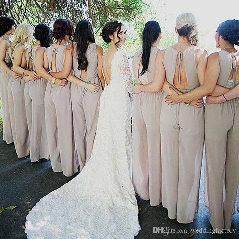 2017 New Special Occasion Pant Suits Bridesmaids Chiffon Pant ...