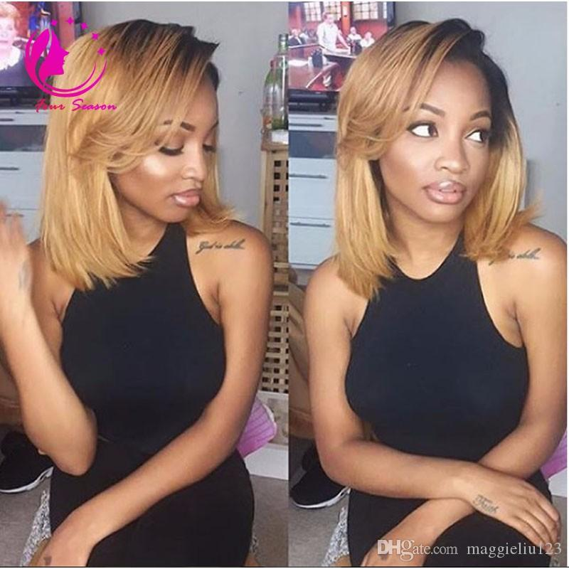 Brazilian Virgin Human Hair Glueless Full Lace Ombre Wig Bob Style Two Tone 1B/27 Bob Wig Ombre Lace Front Wigs For Black Women