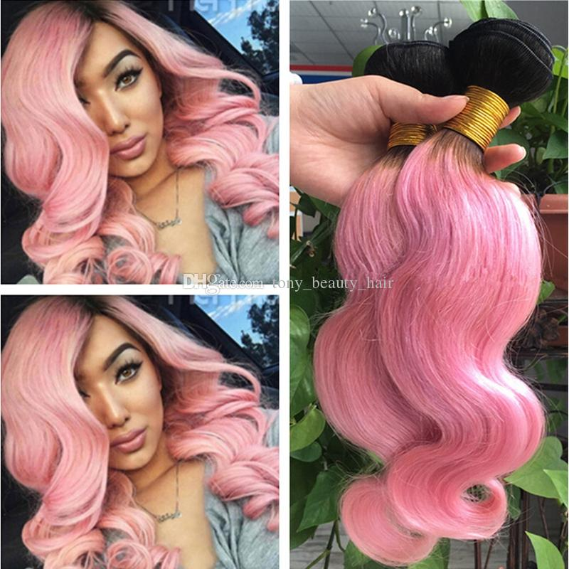 9a Ombre Hair Extensions 1b Pink Ombre Malaysian Virgin Human Hair 3