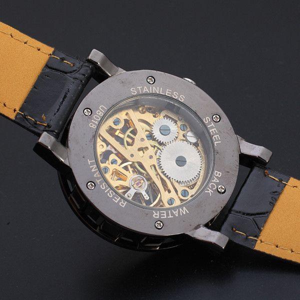 Роскошный Дизайн Черное Золото Мужские Механические Часы Montre Мужские Часы Лучший Бренд Кожаные Деловые Часы Часы relogio masculino