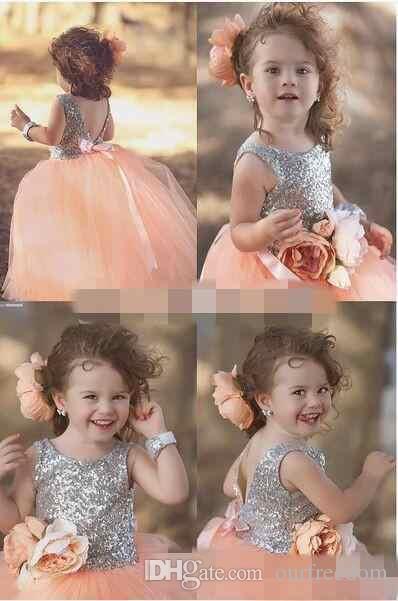 Custom Made Peach Pink Shiny Sequin Princess pageant Dresses For Your Little Girl Handmade Flower Ball Gown Flower Girls' Dresses