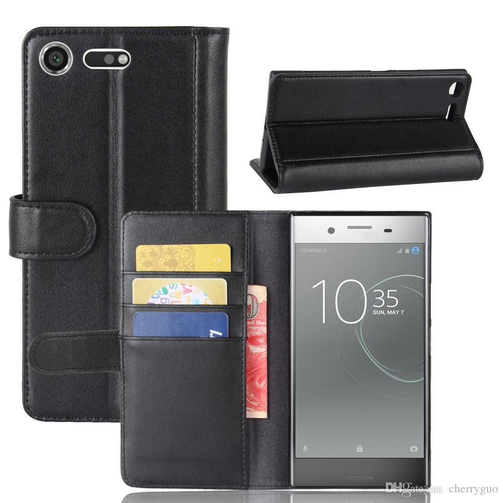 best service b83f9 bce00 Flip Cover per Sony Xperia XZ Premium, TPU Custodia per portafogli in vera  pelle con porta carte