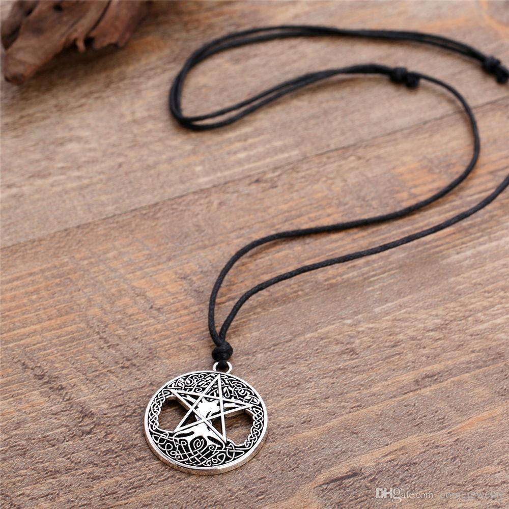 Fashion silver&gold color Double sides Knot Pentacle Vintage tree of life Wicca Pentagram Yggdrasil Talisman Amulet Pendant necklace