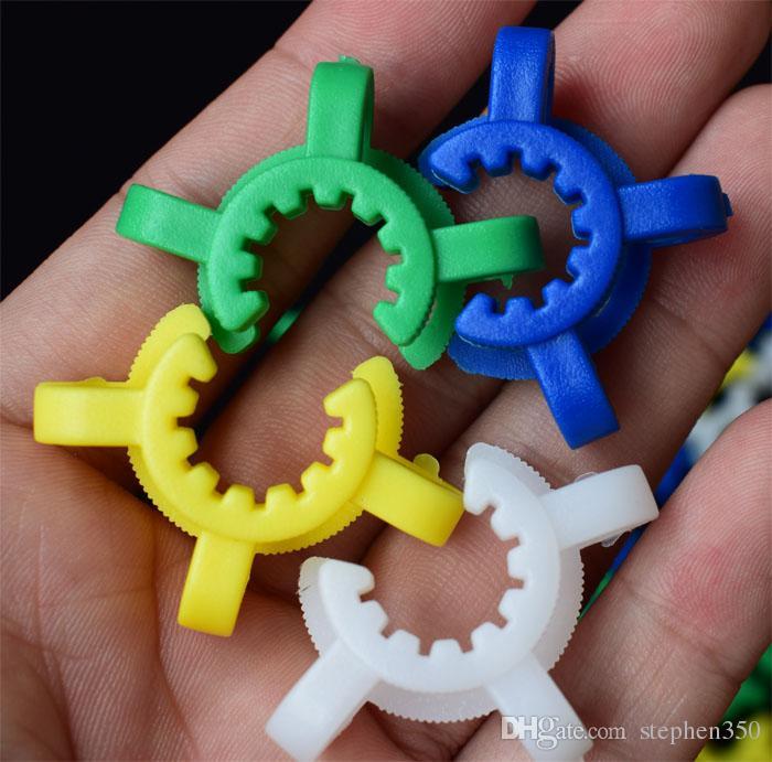 10 mm 14 mm 19 mm Taille joint en plastique Keck clip couleur en plastique Keck de laboratoire Lab Pince clip pour verre adaptateur en verre Bong Nectar Collector
