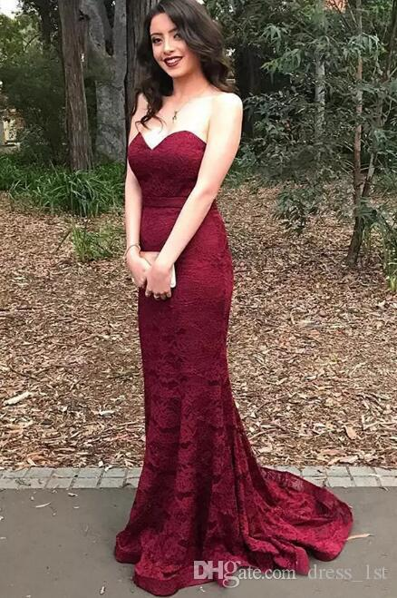 Charming 2017 Dark Red Lace Mermaid Evening Gowns Sweetheart Zipper Back Long Formal Party Dress Evening Custom Made EN7226