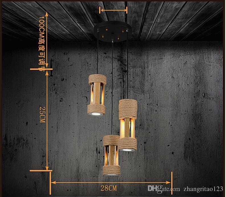 Lampade a sospensione in bambù di moda Apparecchio a testa singola Lampada a sospensione a LED camera da letto Semplice corda di canapa Lampada a sospensione a LED Lamparas Luminair