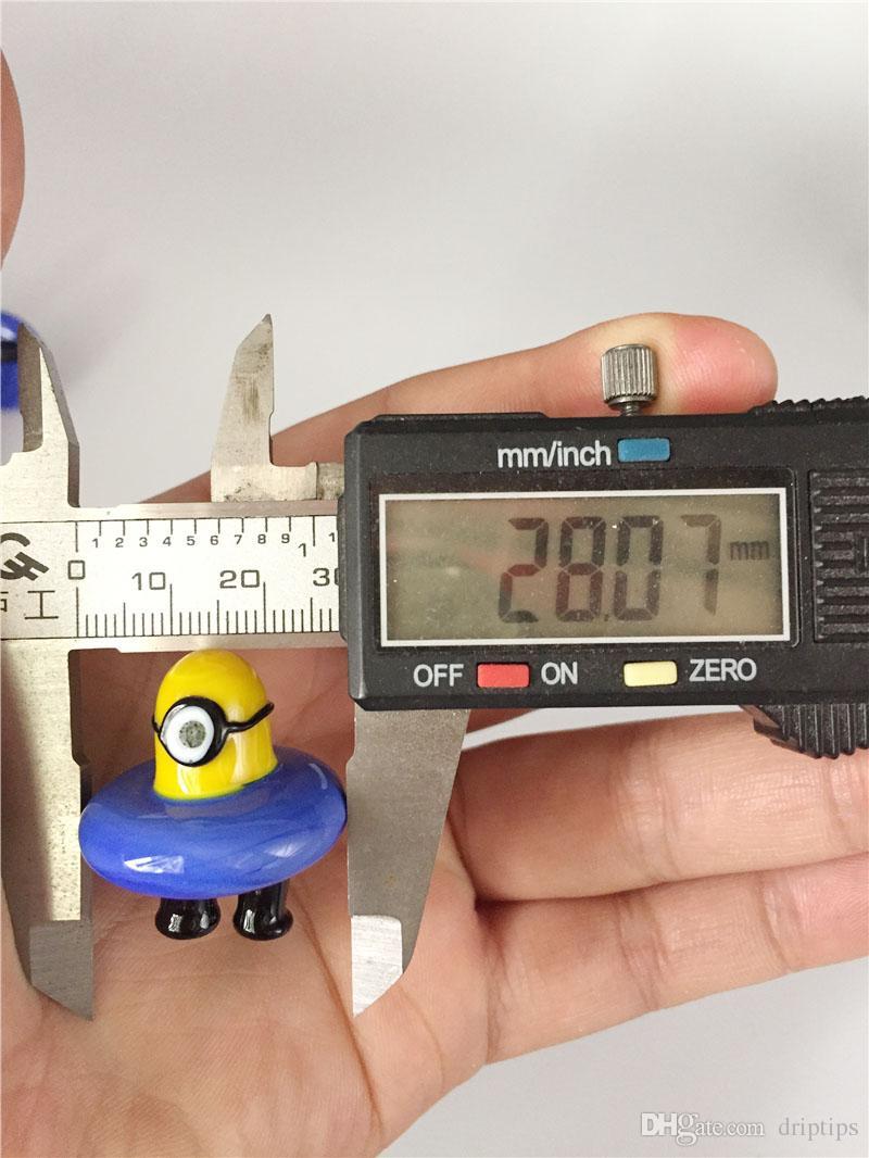 UFO Glass Minions Carb Cap OD 28mm Solido colorato Bubble Carb Caps Thermal P Quartz banger Chiodi oltre 100 Pz DHL libero