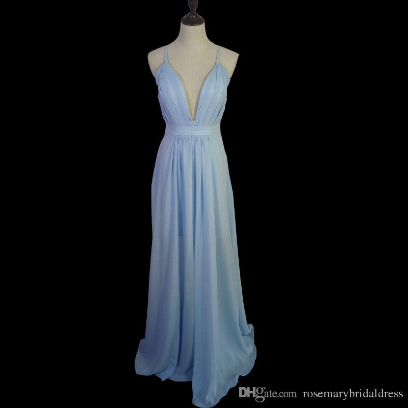 Light Blue Prom Dresses Real Photos Sexy Deep V Neck Backless Cheap