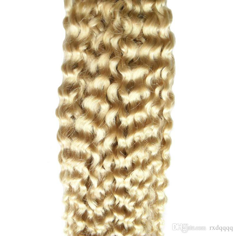 Use of human hair 613 Bleach Blonde Double Drawn Tape In Human Hair Extensions 100g deep curly skin weft tape hair extensions