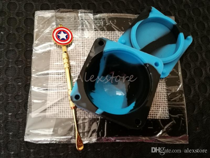 Silicone Wax Kit Set with square sheets pads mat 37ml oil container Captain America gold dabber tool for dry herb jars