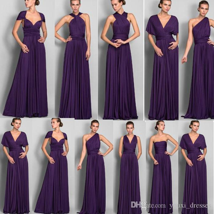 Barato 2017 Hot Moda Longo Chiffon dama de honra vestidos conversíveis até o chão venda quente vestido de dama de honra do casamento