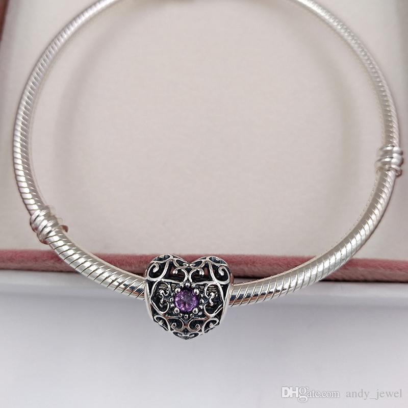 February Signature Heart Birthstone 925 Sterling Silver Beads Fits European Pandora Style Jewelry Bracelets 791784SAM Birthday Gift