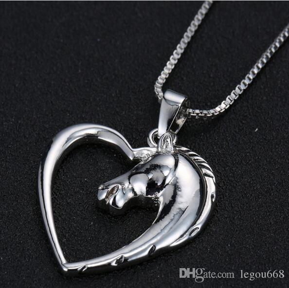 Moda nueva joyería chapada en blanco K Caballo en corazón collar colgante collar para mujer niña regalos mamá G126