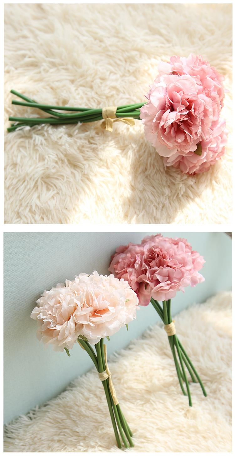 웨딩 신부 꽃 1 꽃다발 5 머리 빈티지 인공 모란 실크 꽃 웨딩 홈 장식 Hight 품질 위조 꽃 모란