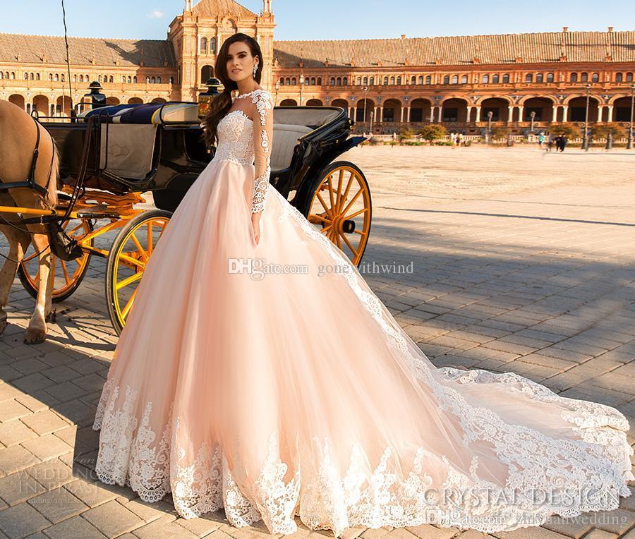 Sheer Back Royal Train Pink Wedding Dresses 2017 Crystal Design ...