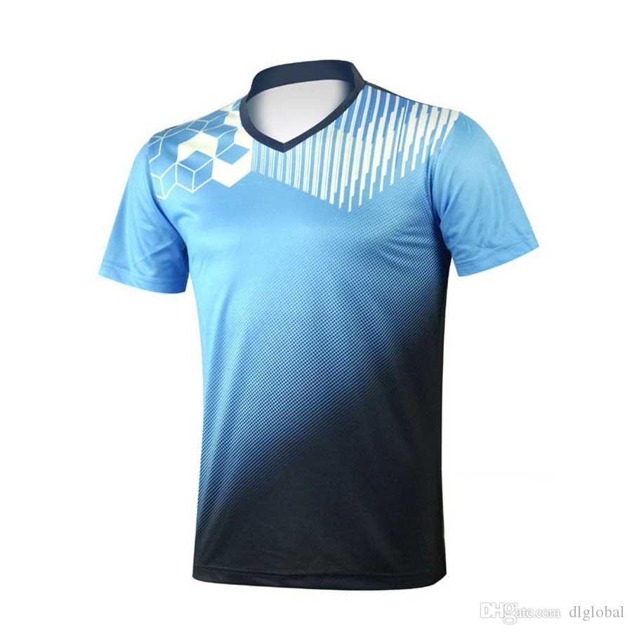 bd7a10559bd Fashion Men V-neck Short-sleeved T-shirt Breathable Badminton Table Tennis  Team Uniforms Jerseys Men Shirt Jerseys Sport Outdoor Online with  38.82  Piece on ...