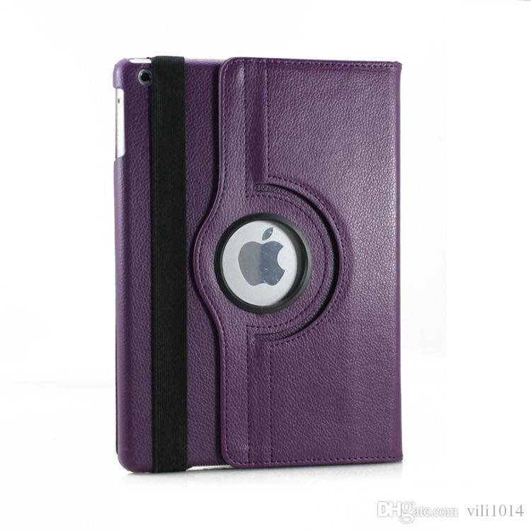For Apple iPad 5 air Case Lichee Pattern Case Fashion 360 Degree Rotation PU Leather Stand cover shell OPP Bag
