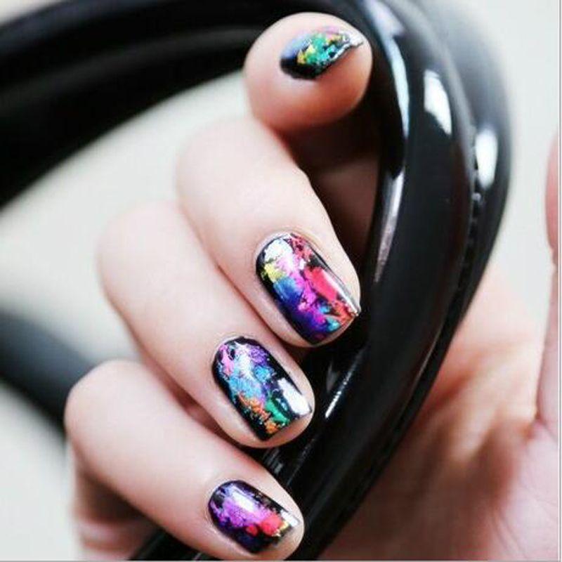 3 cm x 100 cm Mode Nail art Transferfolie Aufkleber 3D Nagellack Wrap Nagelspitze Dekoration Zubehör 55 Farben
