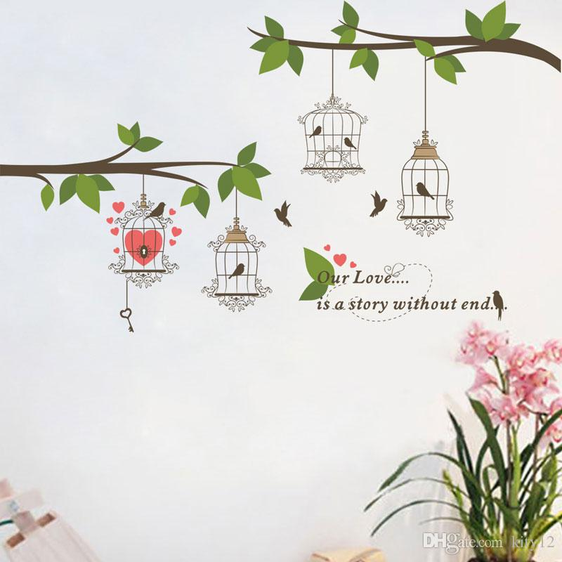 Wholesale Birds Birdcage Branch Wall Stickers Decals Mural Wall Paper Art Room Home Decorations