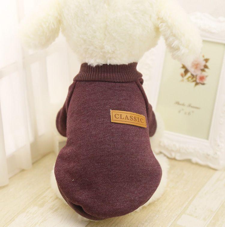 2016 Yeni Klasik Pet Köpek Giysileri Kış Kalın Ceket Sıcak Ceket Saf Tasarım Köpekler için Sevimli Kazak Kedi Köpek