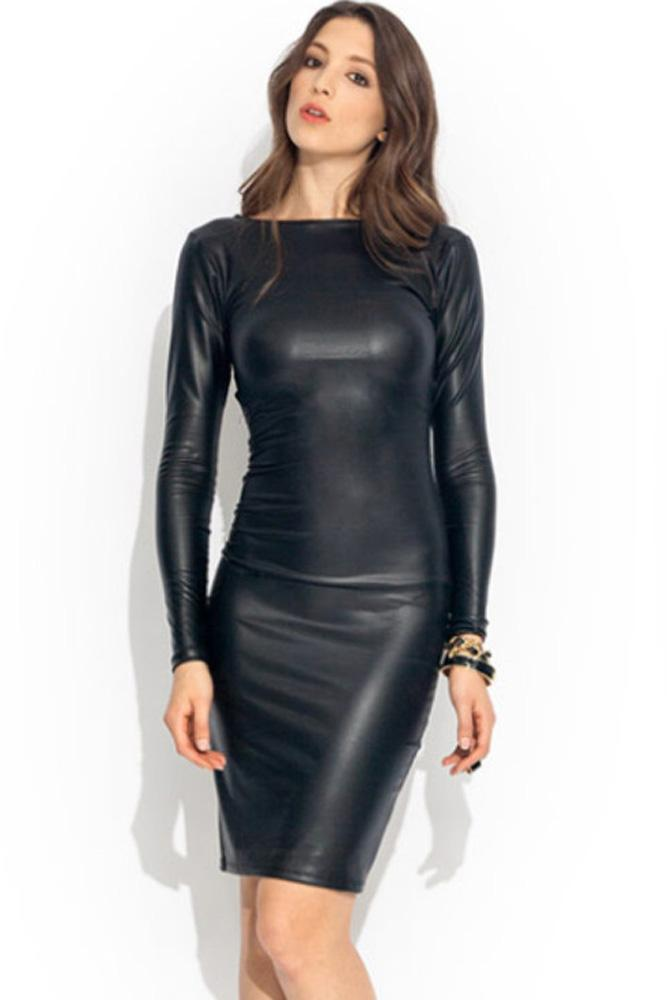 902b3ea5dd68 Black Faux Leather Dress Women Winter 2016 Long Sleeved Fashion Bandage  Reversible Midi Dress Clubwear Vestido LC6429 17410 Green Sundresses Black  Women ...