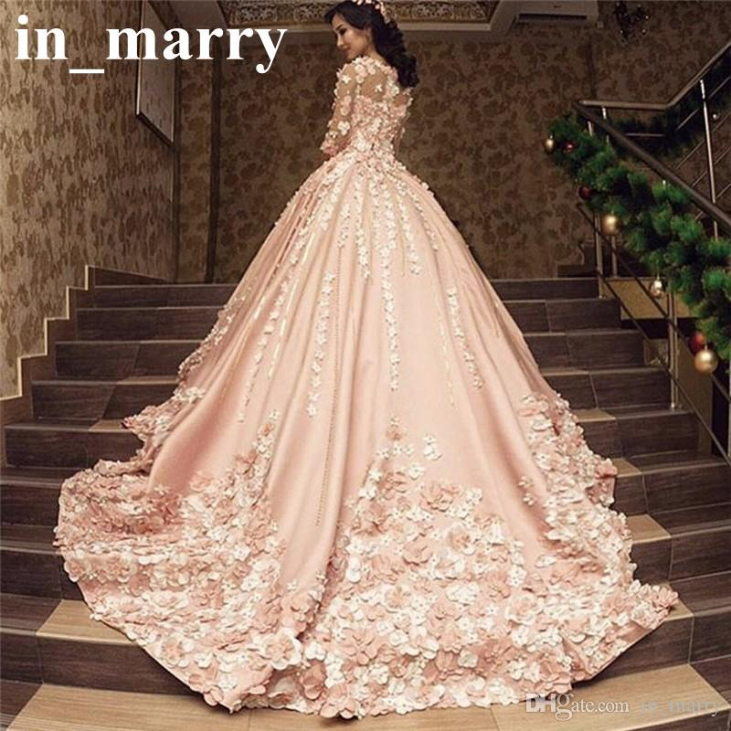 Discount luxury pink arabic design wedding dresses 2017 a line 34 discount luxury pink arabic design wedding dresses 2017 a line 34 long sleeves 3d floral beaded plus size princess kaftan muslim dubai bridal gowns styles junglespirit Image collections