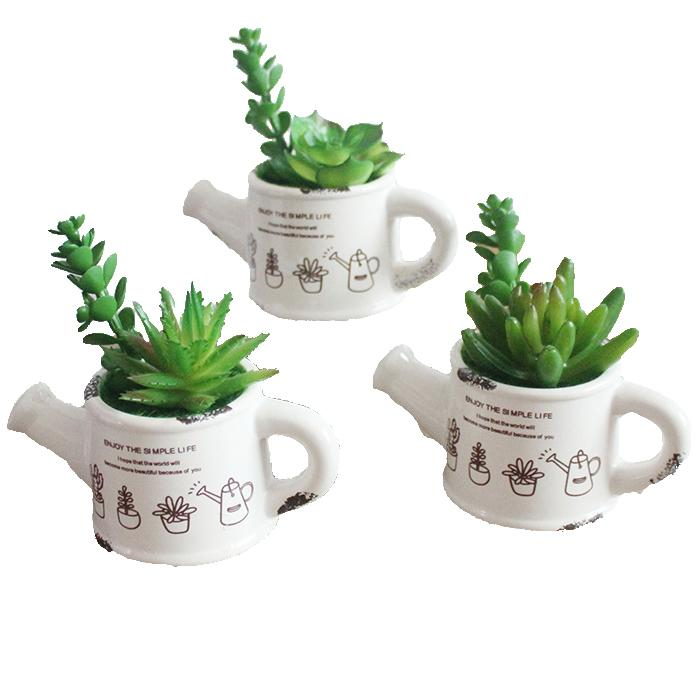 Cute Mini Artificial Green Emulational Succulent Plants With Ceramics Pots for Home Garden and Table or Wedding Table Christmas Party Decor