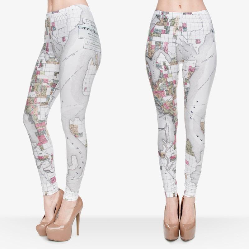 562b872eaa7 2019 Women Leggings Seattle Map 3D Graphic Print Girl Jeggings Skinny  Stretch Yoga Wear Pants Pencil Fit Runner Casual Capris Trousers J30532  From Joybeauty ...