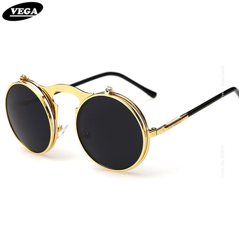 2016 New Vintage Round Flip Up Sunglasses Women Men Retro Steampunk Mirrored Glasses Points Fashion Brand Shades PPhM7X