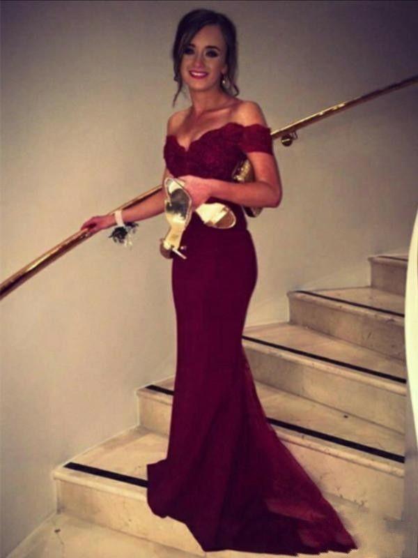 Borgonha Sereia Vestidos de Baile Fora Do Ombro Apliques de Trem Da Varredura Longo Formal Vestidos de Festa À Noite Ocasião Especial Vestido Da Dama de Honra