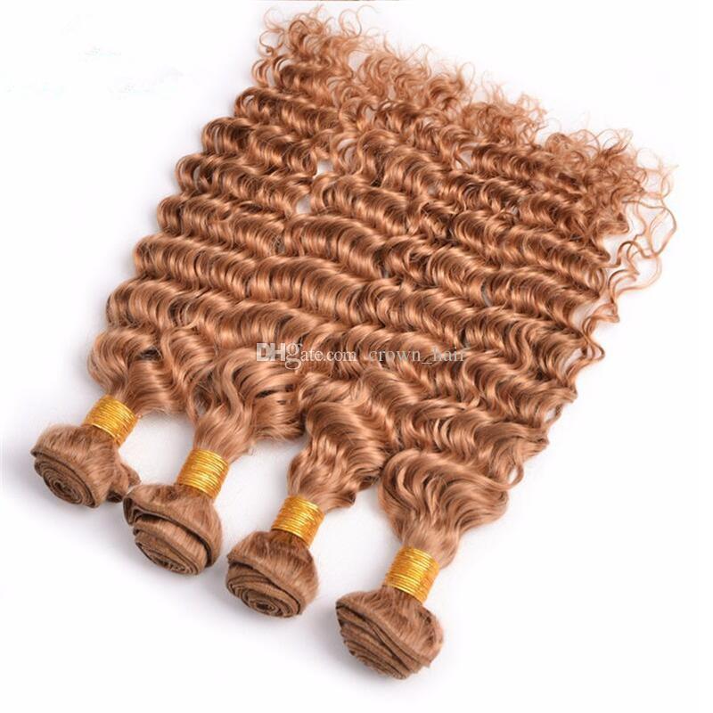 البرازيلي عذراء الشعر لون نقي # 27 موجة عميقة الإنسان الشعر 4 حزم 10-30 بوصة غير المجهزة العسل شقراء موجة عميقة الشعر التمديد 4 قطعة / الوحدة