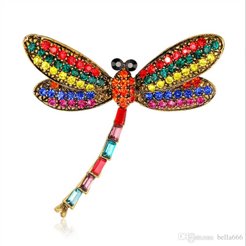 63cc9825a51 2019 Women Retro Alloy Dragonfly Colorful Insect Brooches Gold Plated  Rhinestone Brooch Blouse Scarves Clip Pins Corsage Jewelry Accessory From  Bella666, ...