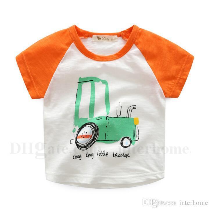 Çocuk Giyim Boys T Shirt Yaz Pamuk Üstleri Kısa Kollu Çizgili Tees Çocuklar Karikatür Araba Gömlek Dinozor Gemi Baskılı Gömlek 13 Renkler H565