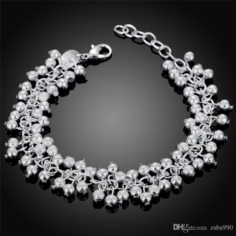 925 Silver Grape Bead Armband Mode Girl Smycken Högkvalitativ 8 tums Gratis frakt 10st