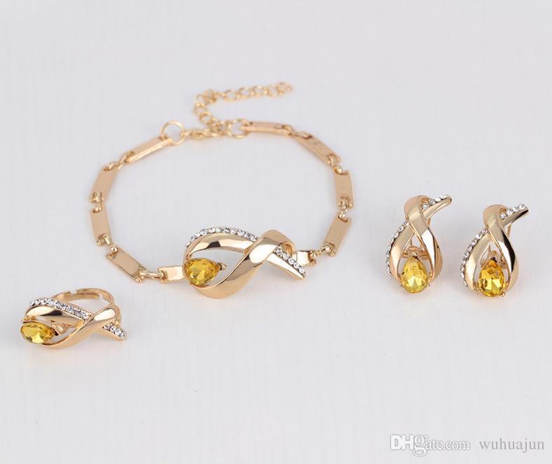 Collana di cristallo giallo di qualità superiore Boutique donne collana Set di gioielli donna anello orecchini bracciale collana