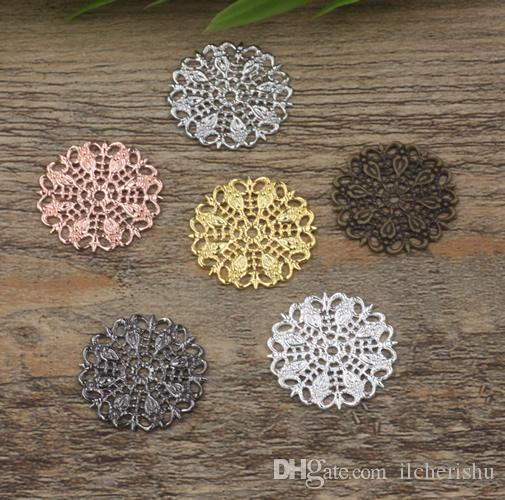 25mm antique bronze/silver/rose gold/gun black Copper filigree flower charms for jewelry making, peacock feather bracelet pendants findings