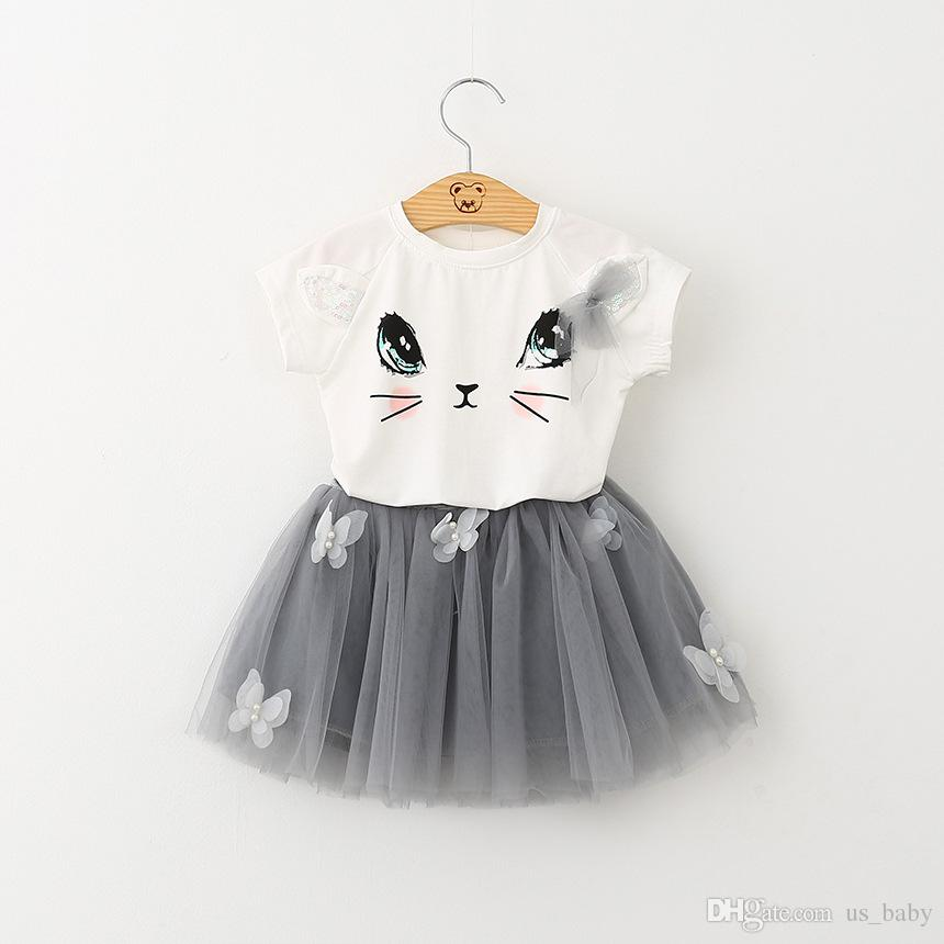 Girl Summer cat print set Children Cute Cartoon Short-Sleeve outfit Girls Kitten Printed T-shirt Veil Skirt Clothing Sets