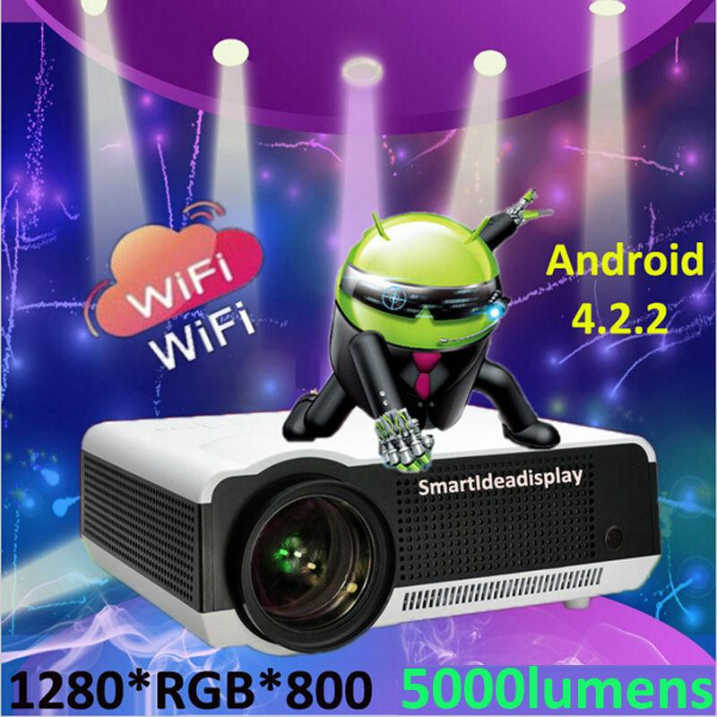Wholesale- Updated !! Android 4.2.2 Wifi Portable LED Full HD 3D TV Home Cinema Projector,1080P Digital Video Smart Proyector