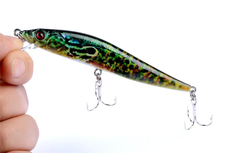 New Camouflage ABS Plastic Artificial Minnow Fishing Lures 10cm 10g PS Plated Pencil crank Bait
